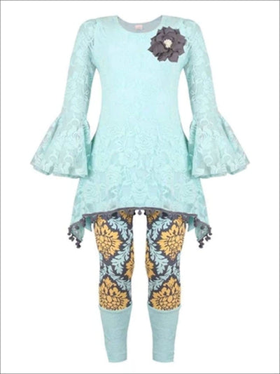 Girls Mint & Gray Boho Ruffle Sleeve Top with Cuffed Leggings Set - Mint/Gray / 2T/3T - Girls Spring Casual Set