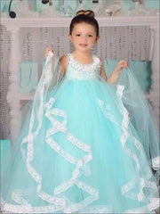 Girls Mint Lace Flower Girls Dress - Girls Gowns