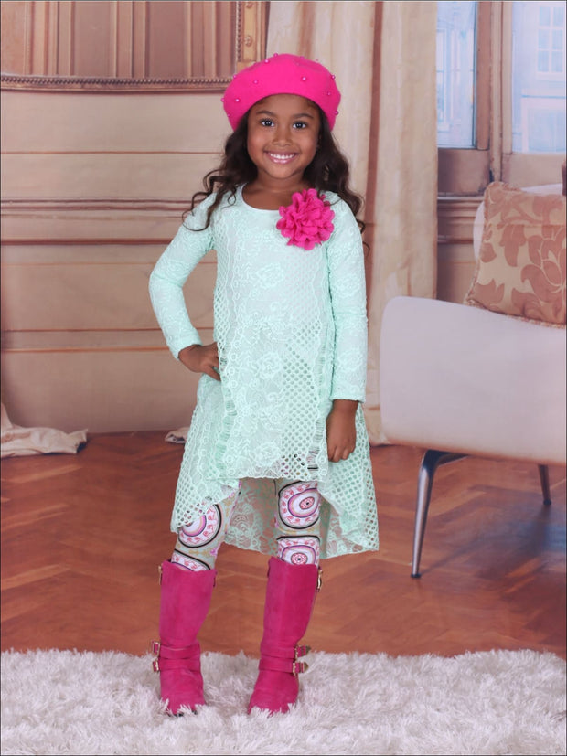 Girls Mint Lace Hi-Lo Tunic and Printed Leggings Set - Fall Low Stock