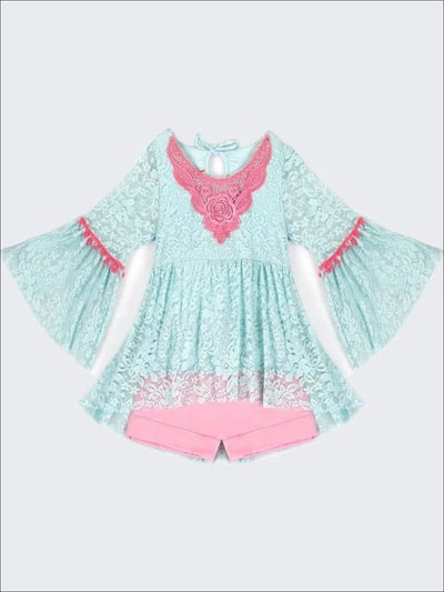 Girls Mint Lace Ruffled Boho Hi-Lo Pom Pom Tunic and Pink Cuffed Shorts Set - 2T/3T / Mint - Girls Spring Casual Set