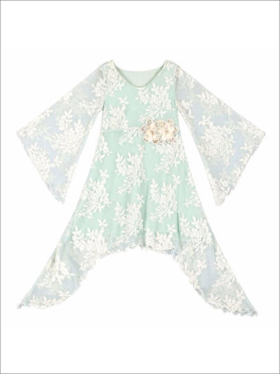 Girls Mint Lace Sidetail Boho Sleeve Dress - Girls Spring Dressy Dress
