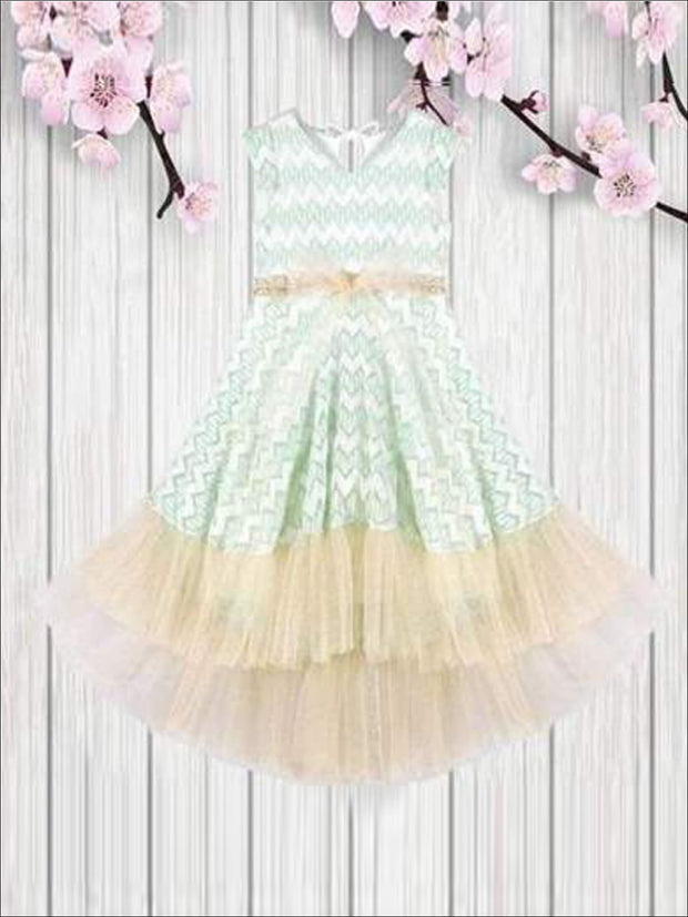 Girls Mint Lace Sleeveless Hi-Low Layered Ruffle Twirl Dress - Girls Lace Princess Twirl Dress