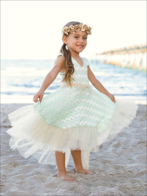 Girls Mint Lace Sleeveless Hi-Low Layered Ruffle Twirl Dress - 2T/3T / Mint - Girls Lace Princess Twirl Dress