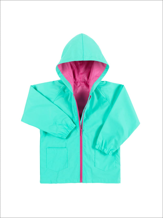 Girls Mint Rain Jacket - Mint / 5Y/6Y - Girls Raincoat