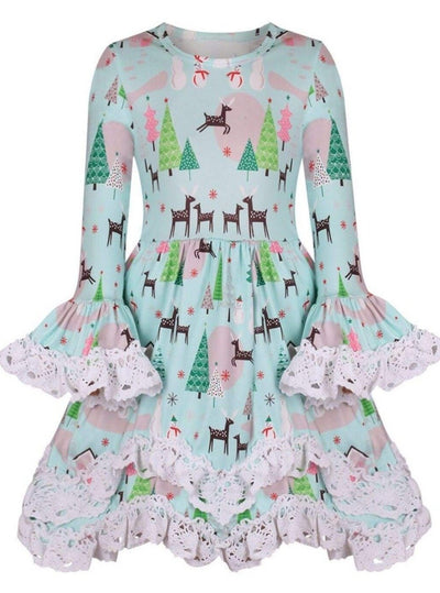 Girls Mint Reindeer & Christmas Tree Handkerchief Tunic with Lace Trim - Girls Christmas Top