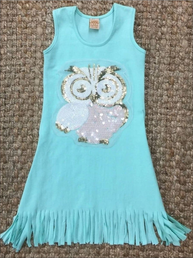 Girls Mint Sleeveless Owl Applique Fringe Dress - 2T/3T / Mint - Girls Spring Casual Dress