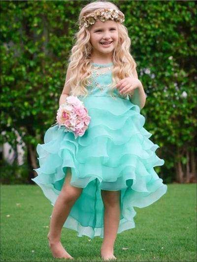 Girls Mint Tiered Ruffle Gold Sequin Embroidered Dressy Holiday Dress - Girls Spring Dressy Dress