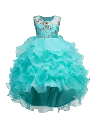 Girls Mint Tiered Ruffle Gold Sequin Embroidered Dressy Holiday Dress - Mint / 3T/4T - Girls Spring Dressy Dress