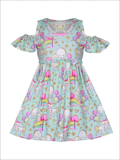 Girls Mint Unicorn Print A-Line Cold Off the Shoulder Dress - Girls Spring Casual Dress