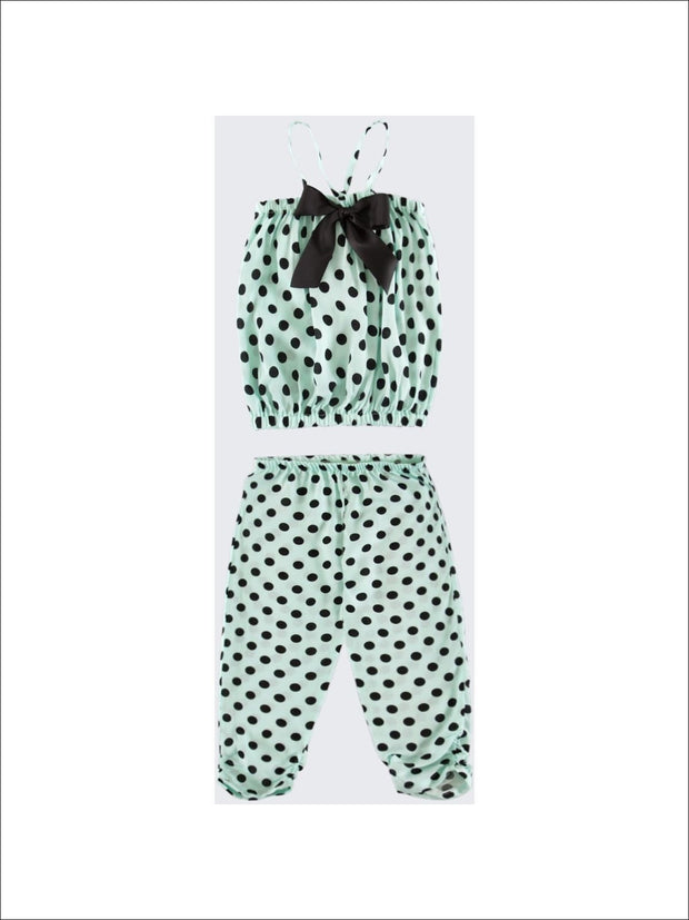 Girls Mint/Black Dot Bubble Swing Set with Bow  - 2T-3T / Mint/Black