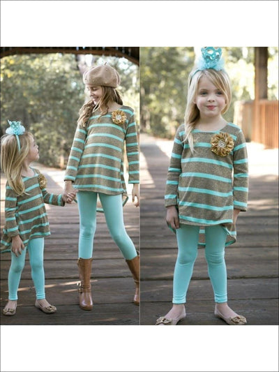 Girls Mint/Gold Hi Low Tunic & Leggings - 3T / Mint/Gold - Fall Low Stock