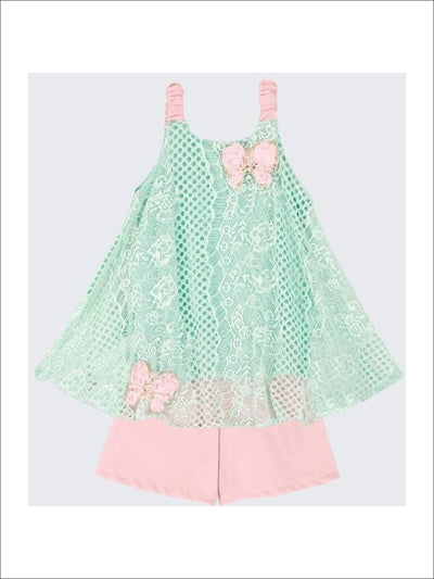 Girls Mint/Pink Lace Sleeveless Swing Top & Short Set - 2T/3T / Mint/Pink - Girls Shorts Set Lace