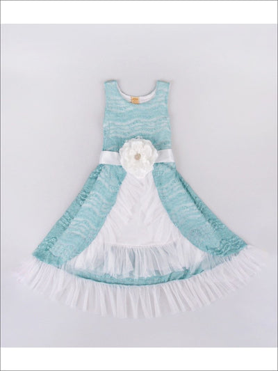 Girls Mint/White Taffeta Mesh Princess Dress with Flower Belt - Girls Princess dress
