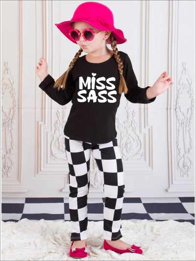 Girls Miss Sass Long Sleeve Graphic Statement Top - Girls Fall Top