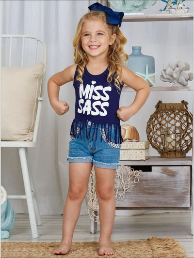 Girls Miss Sass Sleeveless Graphic Fringe Tunic - Girls Spring Top
