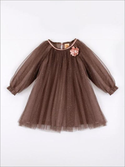 Girls Mocha Cocoa Shimmer Mesh Overlay Top with Pink Flower - Girls Fall Top