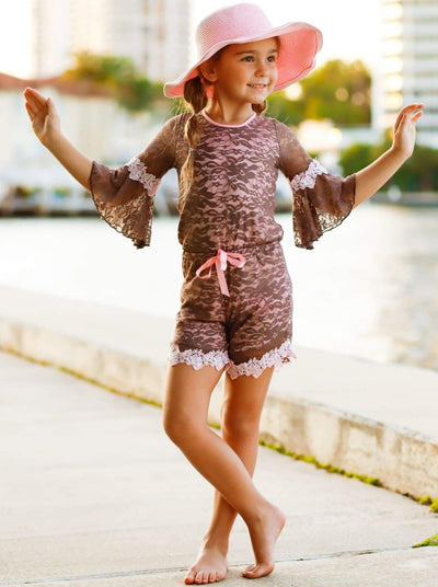 Girls Mocha & Pink Boho Sleeve Lace Jumper with Crochet Trim - Girls Jumpsuit