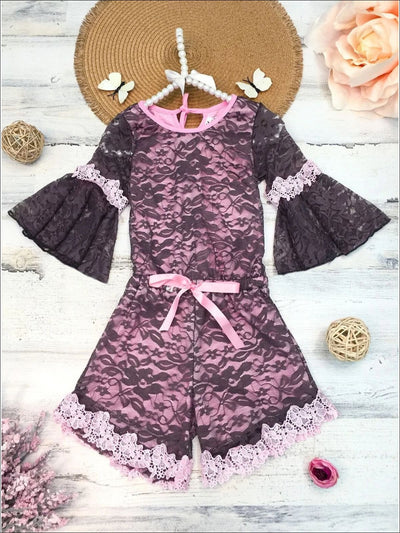 Girls Mocha & Pink Boho Sleeve Lace Jumper with Crochet Trim - Brown / 2T/3T - Girls Jumpsuit