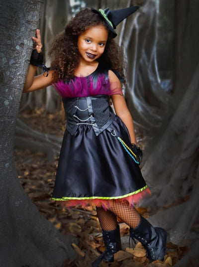 Girls Modern Punk Rock Witch Halloween Costume - Girls Halloween Costume