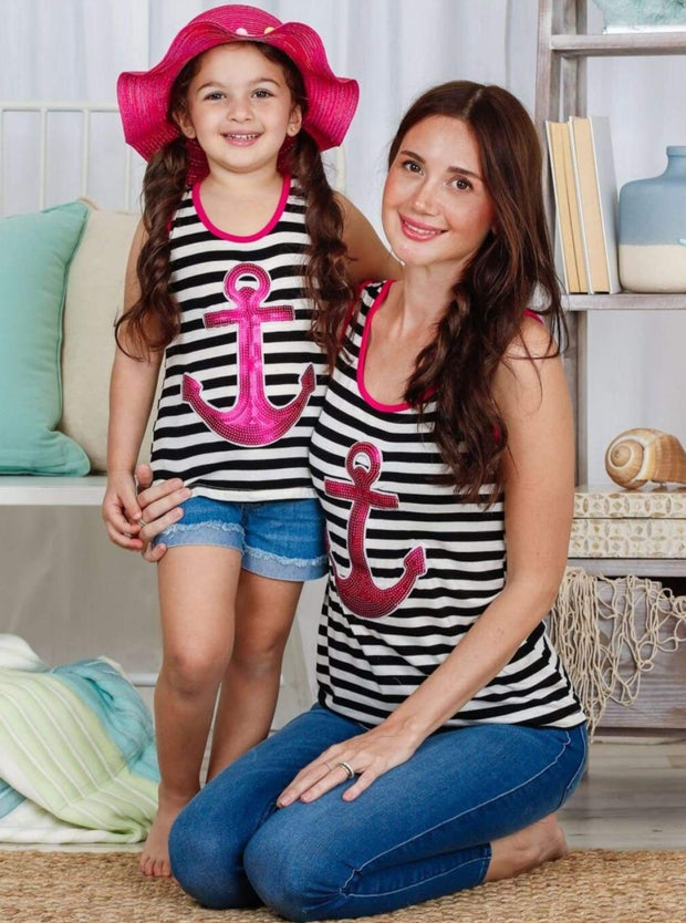 Girls Mommy & Me Striped Sequin Anchor Applique Tank Top - Mommy & Me Top