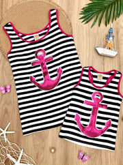 Girls Mommy & Me Striped Sequin Anchor Applique Tank Top - Black / 6MOS-9MOS - Mommy & Me Top