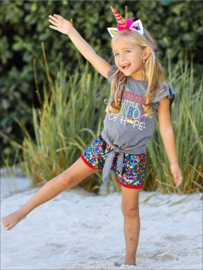 Girls Mommys Little Rainbow of Hope Flutter Sleeve Knot Top & Rainbow Sequin Shorts Set - Girls Spring Casual Set