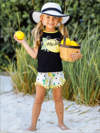 Girls Mommys Main Squeeze Tank & Polka Dot Lemon Print Pom Pom Shorts Set - Girls Spring Casual Set
