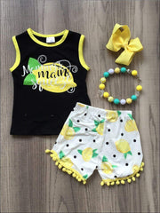 Girls Mommys Main Squeeze Tank & Polka Dot Lemon Print Pom Pom Shorts Set - Yellow / S-3T - Girls Spring Casual Set