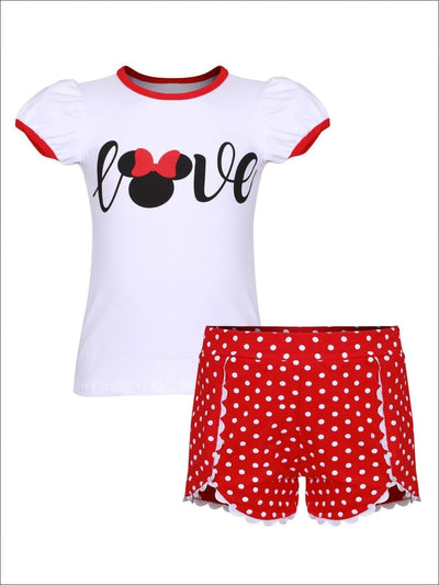 Girls Mouse Love T-Shirt & Scalloped Polka Dot Shorts Set - White & Red / S-3T - Girls Spring Casual Set