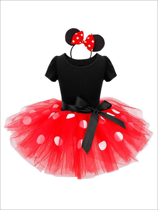 Girls Mouse Tutu Costume Halloween Dress (Pink & Red) - Girls Halloween Costume