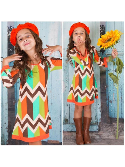 Girls Multi Color Geometric Print Twiggy Sweater Dress - Fall Low Stock