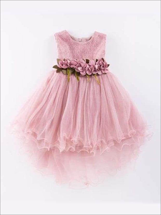 Girls Multi Layered Hi-Lo Flower Trimmed Party Tutu Dress - Pink / 4T - Girls Fall Dressy Dress