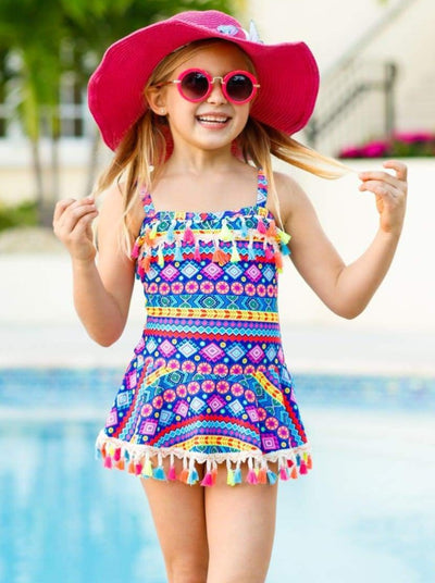Girls Multicolor Geo Print Tasseled Skirted Bottom Two Piece & One Piece Swimsuit (2 Options) - Girls Two Piece Swimsuit