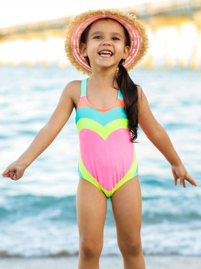 Girls Multicolor Heart Criss Cross One Piece Swimsuit with Back Bow - Pink / 2T/3T - Girls One Piece Swimsuit