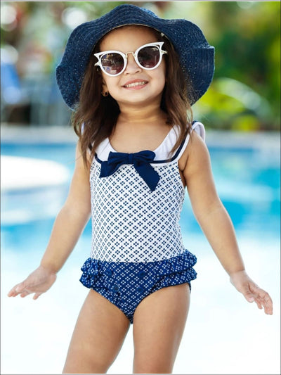 Girls Nautical Button Ruffled One Piece Swimsuit - Girls One Piece Swimsuit