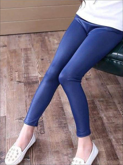 Girls Navy Blue Synthetic Leather Leggings - Navy Blue / 4T - Girls Leggings