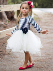 Girls Navy & Creme Long Sleeve Striped Tutu Dress with Flower Trim - Navy / 2T-3T - Girls Fall Dressy Dress