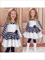 Girls Navy & Creme Print Blocked Twirl Dress - White and Black / 3T - Fall Low Stock