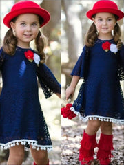 Girls Navy Crochet Cutout Swing Dress - Girls Spring Casual Dress