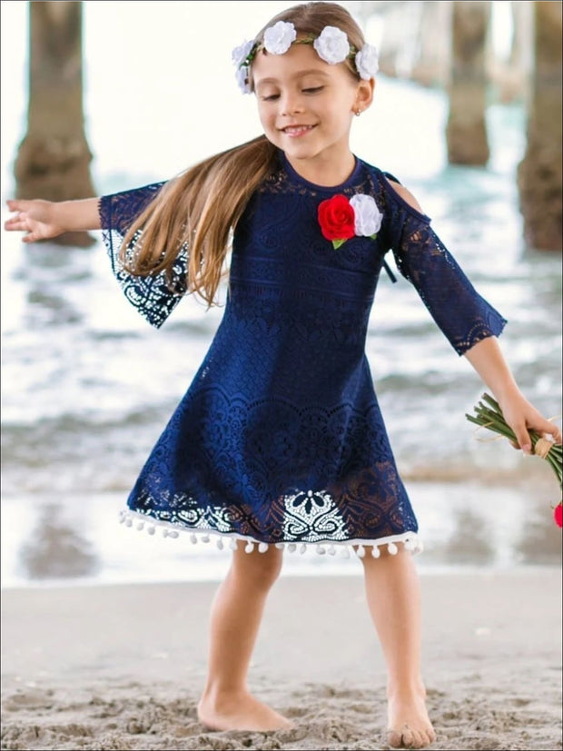 Girls Navy Crochet Cutout Swing Dress - Navy / 2T-3T - Girls Spring Casual Dress