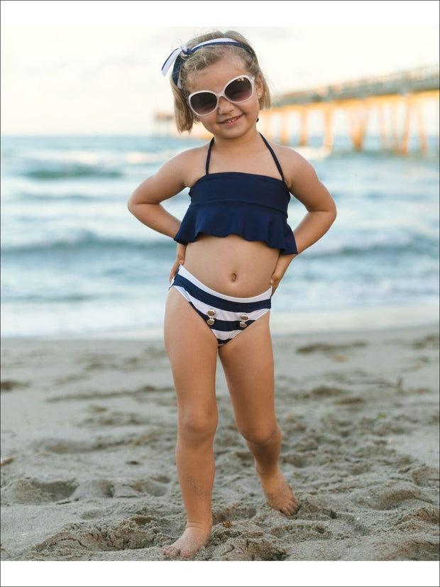 Girls Navy Flare Tankini with Gold Faux Button Detail Swimsuit - Girls Two Piece Swimsuit