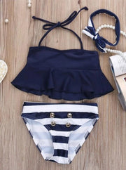 Girls Navy Flare Tankini with Gold Faux Button Detail Swimsuit - Navy / 2T - Girls Two Piece Swimsuit