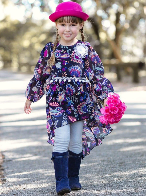 Girls Navy Floral Print Hi-Lo Peasant Sleeve Tunic Blouse - Girls Fall Top