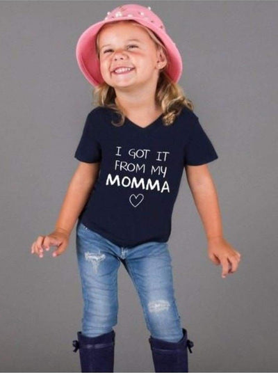 Girls Navy I got it from my momma Graphic T-Shirt - 2T/3T / Navy - Girls Graphic Tee