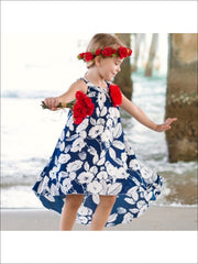 Girls Navy & Ivory Floral Diana Dress - Girls Spring Dressy Dress