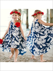 Girls Navy & Ivory Floral Diana Dress - 2T/3T / Navy/Ivory - Girls Spring Dressy Dress