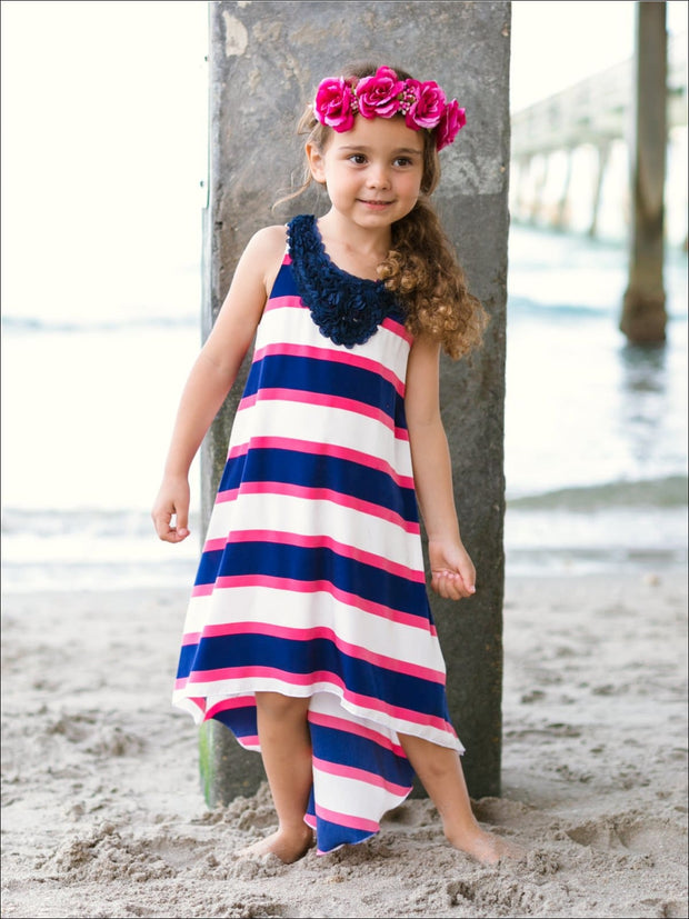 Girls Navy & Ivory Stripe Hi-Lo Dress - Girls Spring Casual Dress