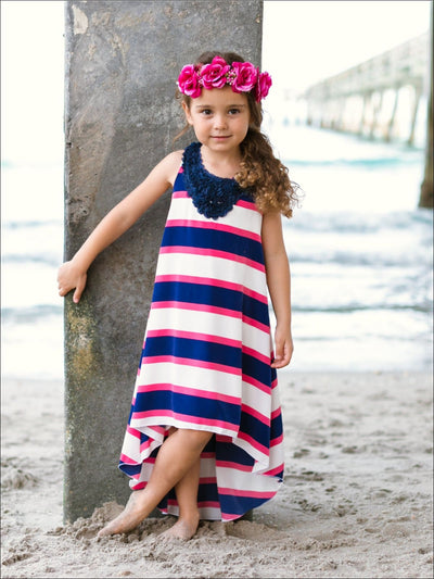Girls Navy & Ivory Stripe Hi-Lo Dress - 2T/3T / Navy/Ivory/Pink - Girls Spring Casual Dress