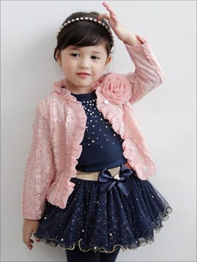 Girls Navy Long Sleeve Top With Sequin Tutu Bow Skirt & Pink Embellished Cardigan Set - Girls Fall Dressy Set