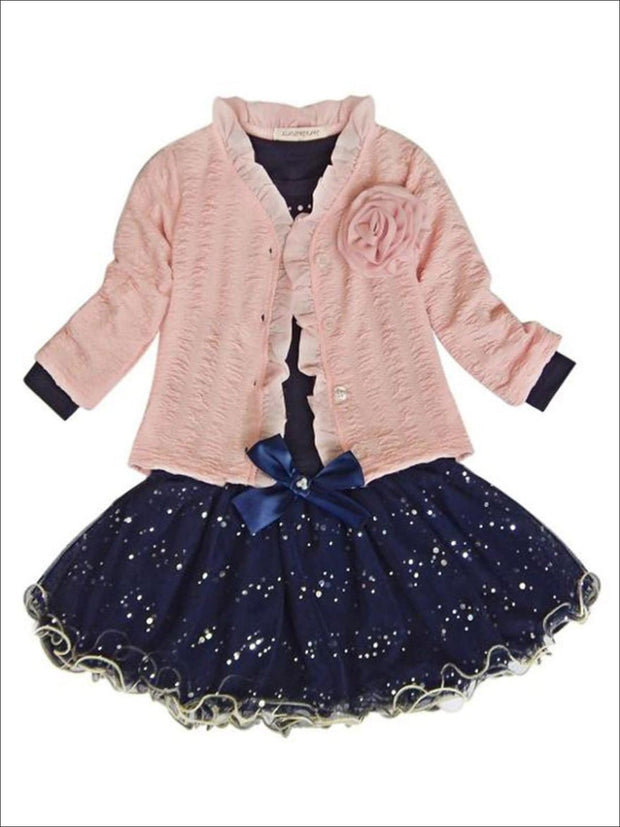 Girls Navy Long Sleeve Top With Sequin Tutu Bow Skirt & Pink Embellished Cardigan Set - Blue & Pink / 2T - Girls Fall Dressy Set
